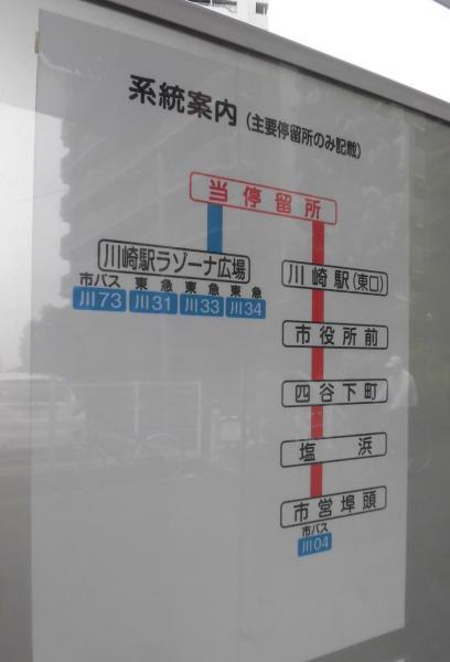 「川崎駅ラゾーナ広場(川崎駅)」停より3つ目です