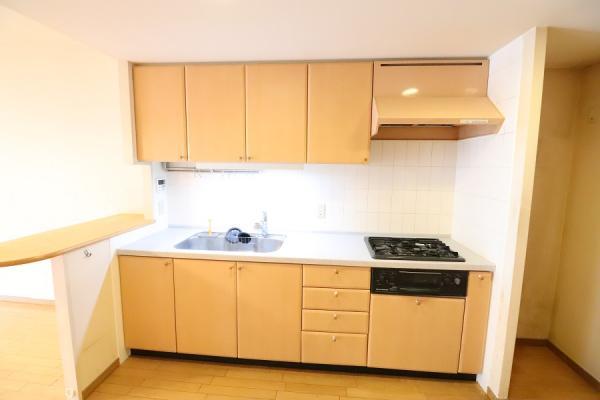 カウンターや食品庫を設けた独立型キッチン