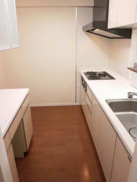 システムキッチンカウンター式 備付食器棚あり