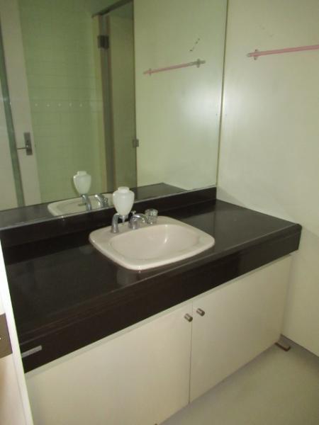 女性トイレには広いスペースの洗面台あり