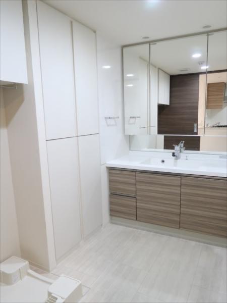 タオル等を収納可能な棚/独立洗面台があります