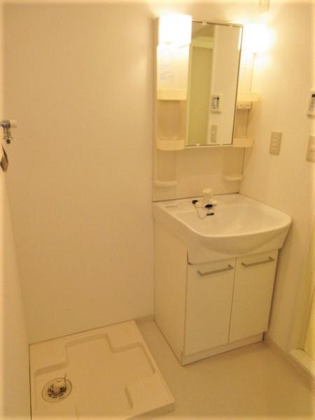 忙しい朝にも便利なシャワー付洗面化粧台有