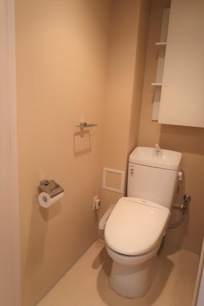 収納スペースのある温水洗浄付便座です